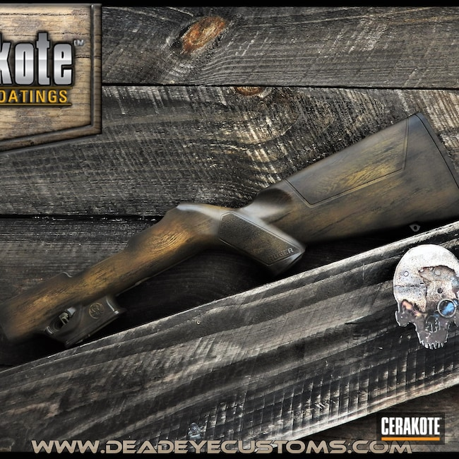 Cerakoted: S.H.O.T,Rifle Stock,Ruger,Woodgrain,Graphite Black H-146,Ral 8000 H-8000,Wood Grain Pattern,Custom Cerakote,Light Sand H-142