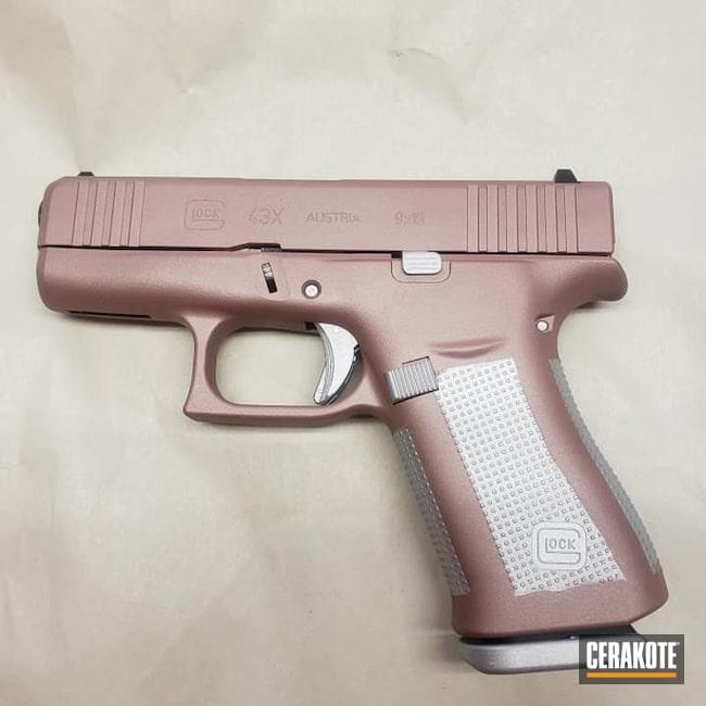 Cerakoted: S.H.O.T,Glock 43X,Satin Aluminum H-151,Glock,ROSE GOLD H-327,Semi-Auto