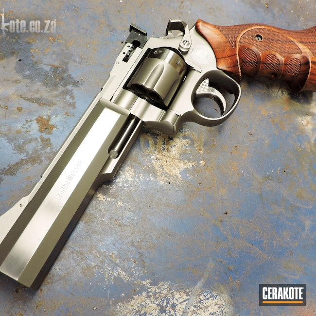 Cerakoted: S.H.O.T,Satin Mag H-147,38 Special,Rail,Smith & Wesson,Revolver,Smith & Wesson 629,Color Match,South African,Handguns,brushed metal