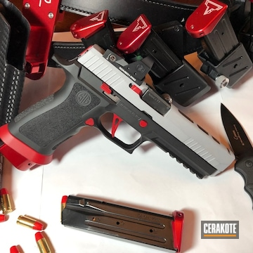 Custom Sig Sauer P320 Cerakoted Using Armor Black, Crushed Silver And Ruby Red