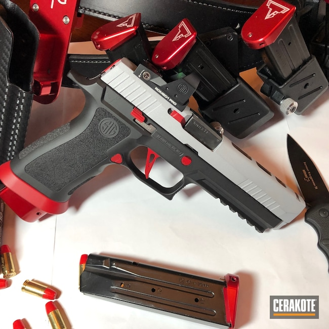 Cerakoted: S.H.O.T,9mm,Sig P320,RUBY RED H-306,Crushed Silver H-255,Armor Black H-190,Pistol