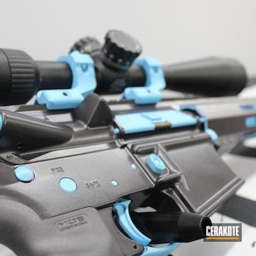 Custom Ar Rifle Cerakoted Using Blue Raspberry And Carbon Grey