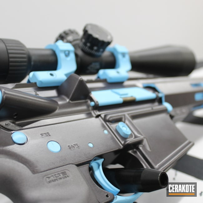 Custom Ar Rifle Cerakoted Using Blue Raspberry And Carbon Grey
