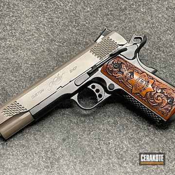 Custom Kimber 1911 Cerakoted Using Earth And Graphite Black