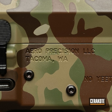 Multicam Aero Precision Ar Build Cerakoted Using Plum Brown, Multicam® Dark Brown And Multicam® Pale Green