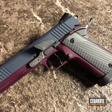 Rock Island Arms 1911 Pistol Cerakoted Using Multicam® Dark Grey, Black Cherry And Titanium