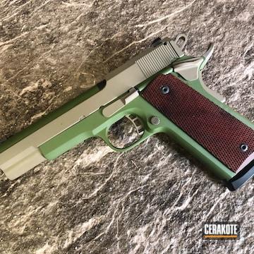 Rock Island 1911 Pistol Cerakoted Using Multicam® Bright Green And Magpul® Flat Dark Earth