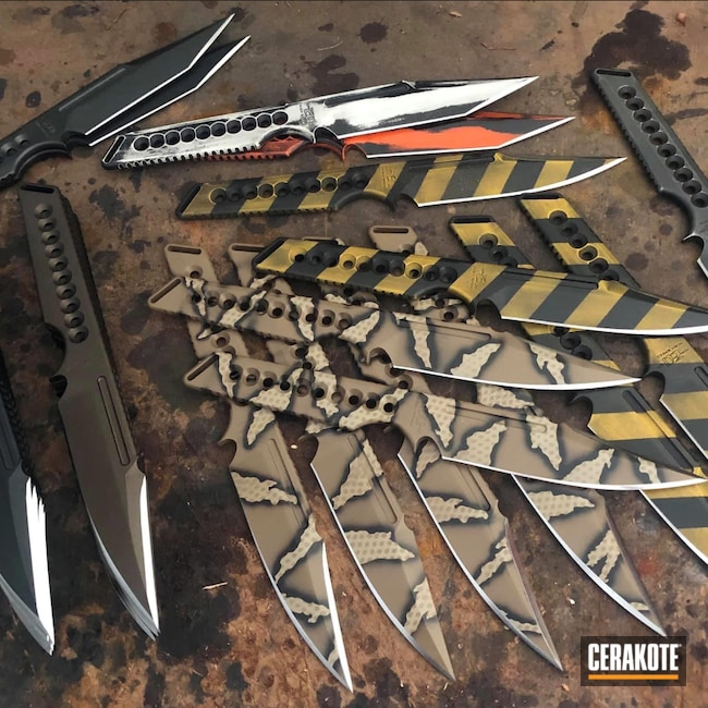 Cerakoted: S.H.O.T,Sniper Grey H-234,Corvette Yellow H-144,Coyote Tan H-235,Graphite Black H-146,USMC Red H-167,ZU Bladeworx,Knives