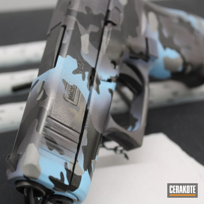 Custom Camo Glock 43x Cerakoted Using Titanium, Blue Raspberry And Carbon Grey