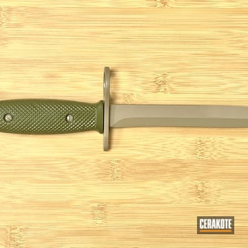 Bayonet Cerakoted Using Sniper Green And M17 Coyote Tan