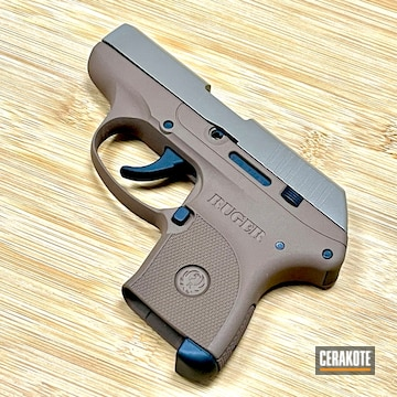 Ruger Lcp Pistol Cerakoted Using M17 Coyote Tan, Graphite Black And Copper Brown