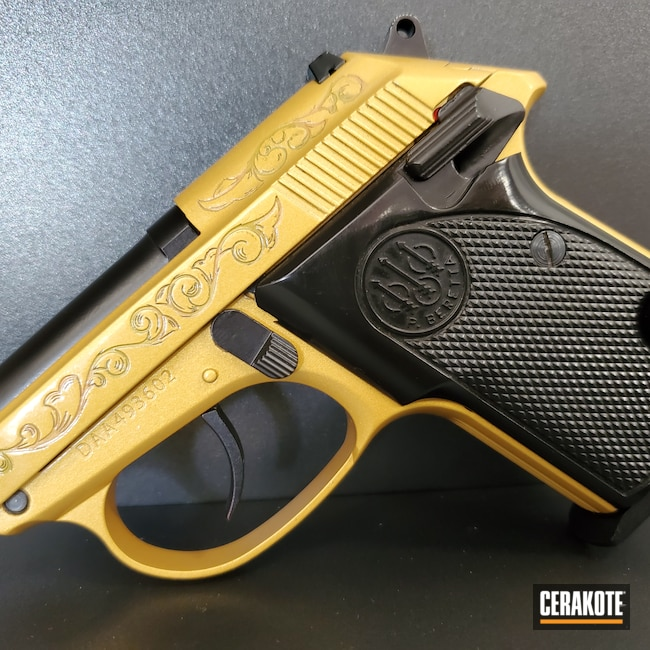 Cerakoted: S.H.O.T,MULTICAM® BRIGHT GREEN H-343,Tomcat,Laser Engraving,Graphite Black H-146,3032,FROST H-312,USMC Red H-167,Pistol,Beretta,HIGH GLOSS ARMOR CLEAR H-300,Gold H-122