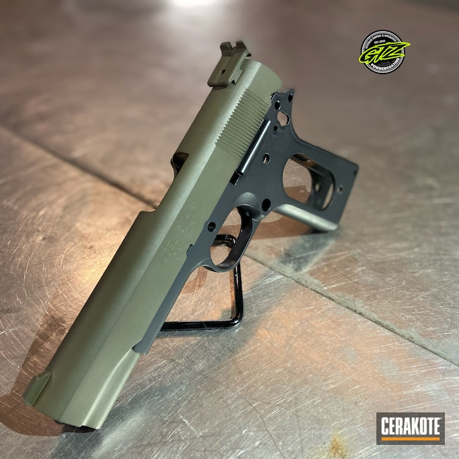 Cerakoted: S.H.O.T,Graphite Black H-146,Pistol,1911,MAGPUL® O.D. GREEN H-232