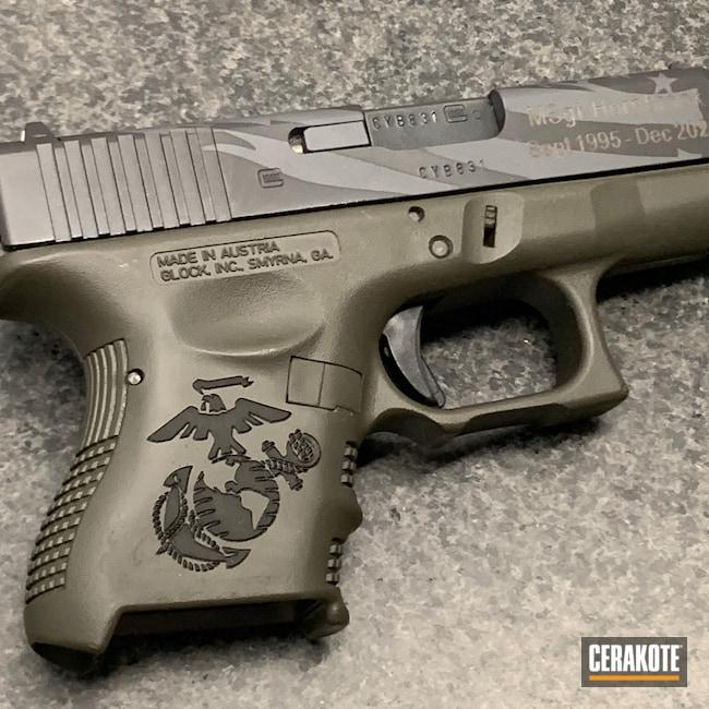 Cerakoted: S.H.O.T,Sniper Grey H-234,Graphite Black H-146,Mil Spec O.D. Green H-240,27,Distressed Flag,Glock,Laser Engraved,Glock 27