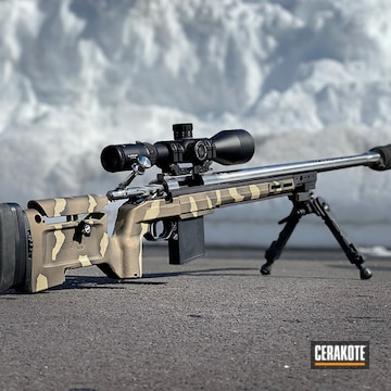 Custom Camo Rifle Cerakoted Using Multicam® Pale Green, Graphite Black And Burnt Bronze