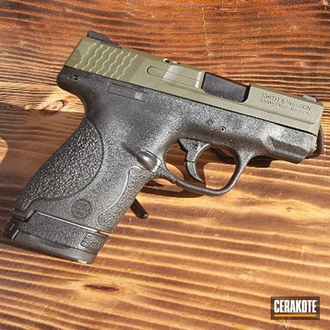 Cerakoted: S.H.O.T,9mm,Mil Spec O.D. Green H-240,Smith & Wesson,Controls,Shield,Pistol Slide,ROSE GOLD H-327