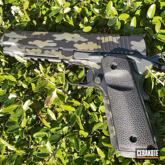 Cerakoted: S.H.O.T,.45,Sig 1911 Tacops,MULTICAM® LIGHT GREEN H-340,Sniper Green H-229,Graphite Black H-146,Sig 1911,1911,MultiCam Black,45 ACP