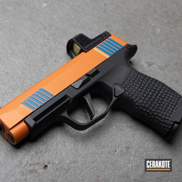 Sig Sauer P365 Xl Cerakoted Using Ridgeway Blue, Tequila Sunrise And Gold