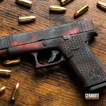 Custom Glock 48 Cerakoted Using Armor Black, Sig™ Dark Grey And Ruby Red