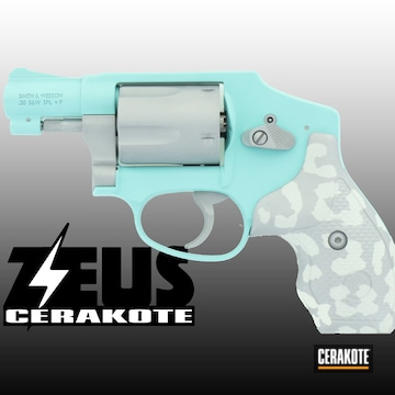 Smith & Wesson Revolver Cerakoted Using Frost, Crushed Silver And Robin's Egg Blue