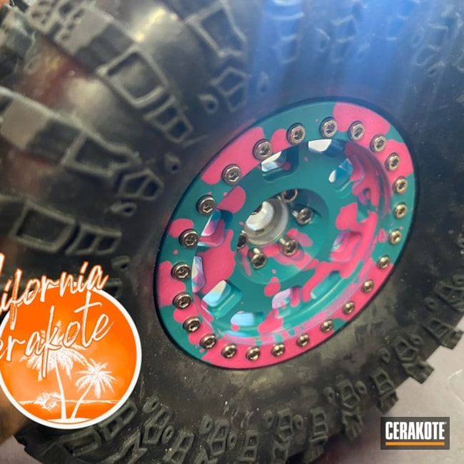 Rc Car Wheels Cerakoted Using Prison Pink And Aztec Teal