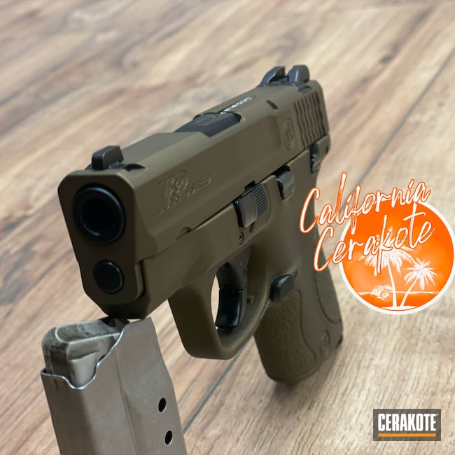 Cerakoted: S.H.O.T,Burnt Bronze H-148,Pistol,Christopher Miller,M&P Shield,california cerakote