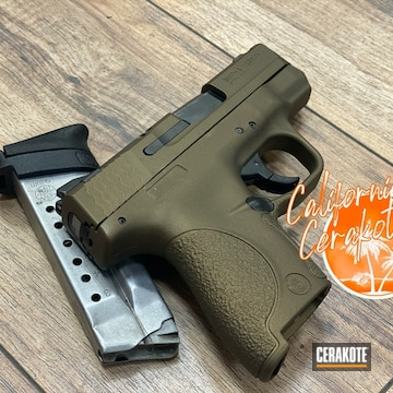 Smith & Wesson M&p Shield Cerakoted Using Burnt Bronze