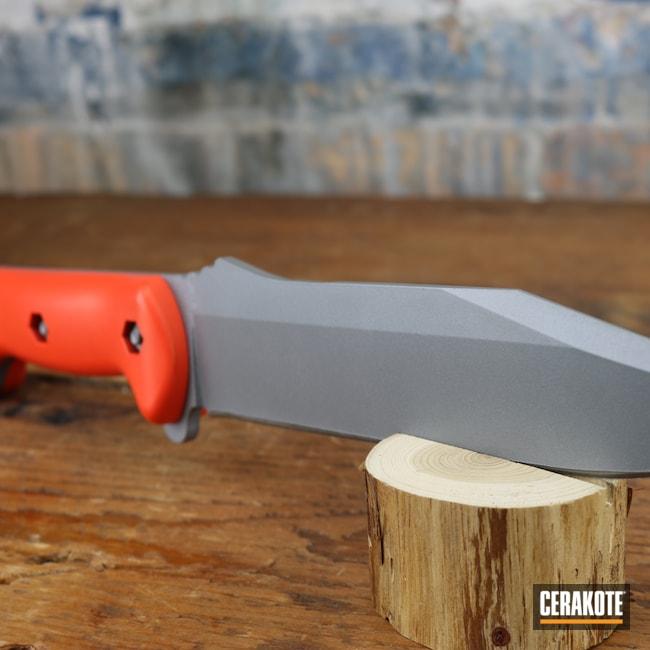 Cerakoted: S.H.O.T,Knife Blade,Titanium H-170,Knife,Hunter Orange H-128,Knives,Custom Knives