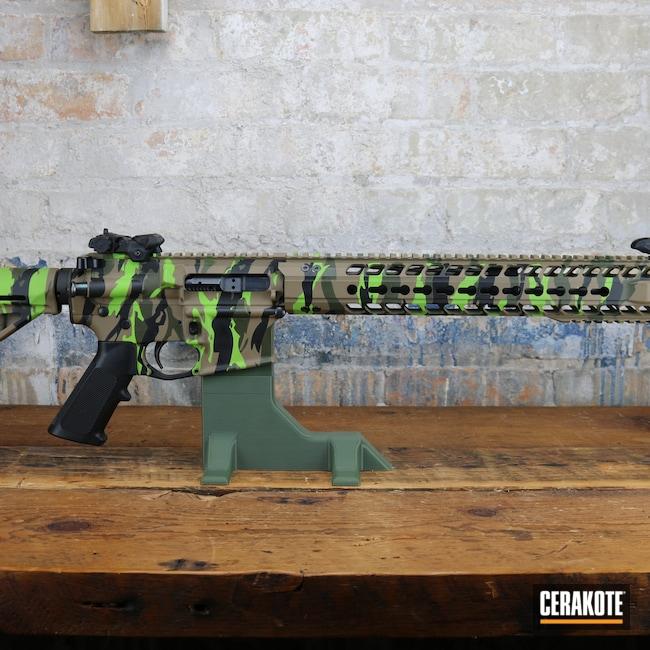 Cerakoted: S.H.O.T,Palmetto State Armory,PA-15,Zombie Green H-168,Armor Black H-190,O.D. Green H-236,Firearms,Guns,Flat Dark Earth H-265,Custom Camo,Custom AR,AR-15
