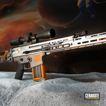 Custom Space Shuttle Themed Scar 17 Cerakoted Using Savage® Stainless, Satin Aluminum And Hunter Orange
