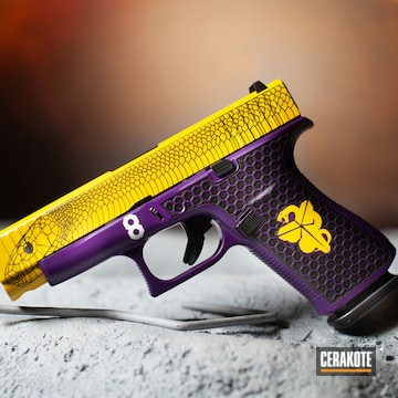 Kobe Black Mamba Themed Glock Pistol Cerakoted Using Corvette Yellow And Lollypop Purple