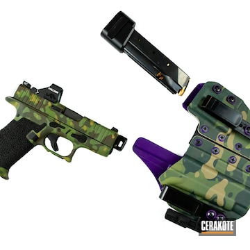 Tropic Camo Glock And Holster Cerakoted Using Multicam® Bright Green
