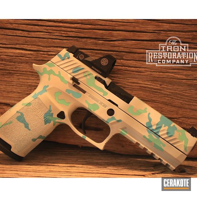 Cerakoted: S.H.O.T,Sig P320,Bright White H-140,Robin's Egg Blue H-175,P320,Pistol,Sig Sauer,BATTLESHIP GREY H-213,BLUE RASPBERRY H-329,EDC,Snow,Handgun