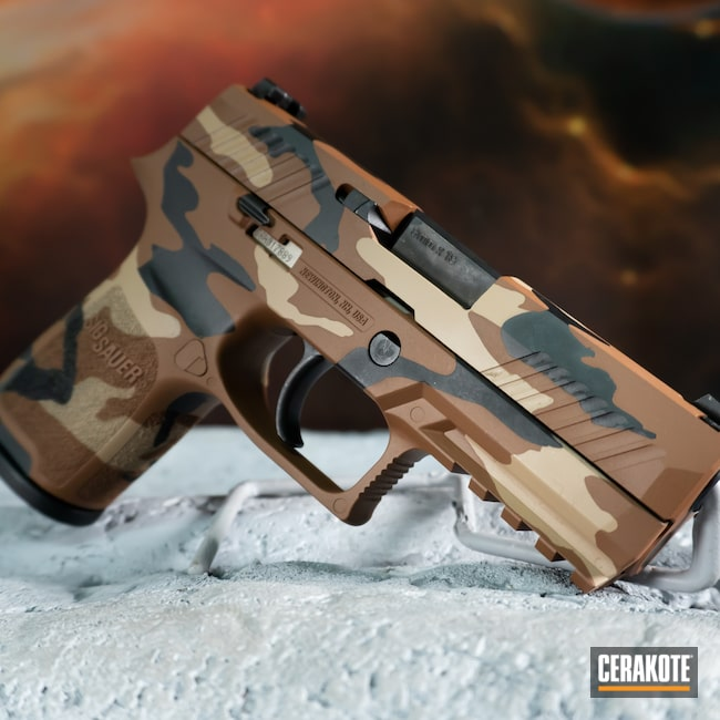 Cerakoted: S.H.O.T,Sig P320,9mm,Desert Sand H-199,Camo,Armor Black H-190,Copper Brown H-149,Custom Camo,.9