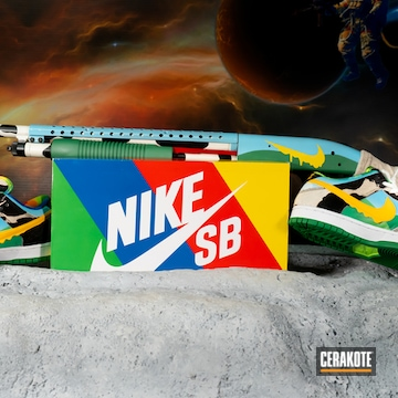 Nike Sb Themed Mossberg 500 Shotgun Cerakoted Using Hidden White, Squatch Green And Corvette Yellow