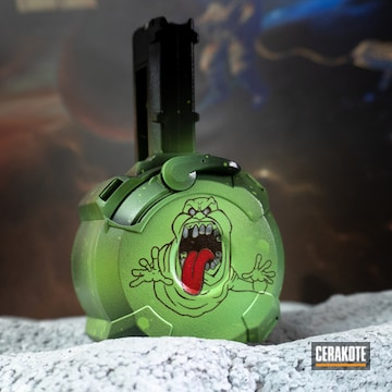 Slimer The Ghostbusters Themed Drum Mag Cerakoted Using Usmc Red, Bright White And Zombie Green
