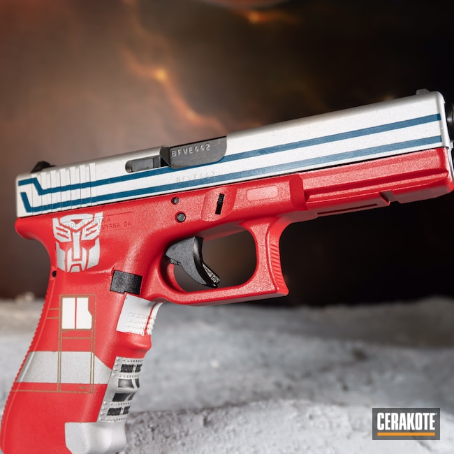 Cerakoted: S.H.O.T,Bright White H-140,9mm,USMC Red H-167,Transformers,Satin Aluminum H-151,Glock,Full Cerkote Job,.9,Sky Blue H-169