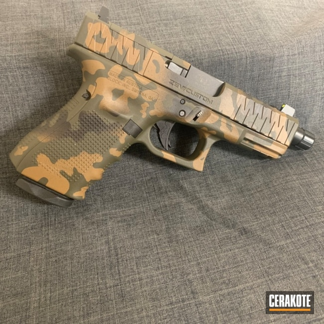 Custom Camo Glock Pistol Cerakoted Using Troy® Coyote Tan, Graphite Black And O.d. Green