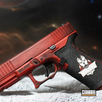 Glock 45 Cerakoted Using Battleship Grey, Graphite Black And Firehouse Red