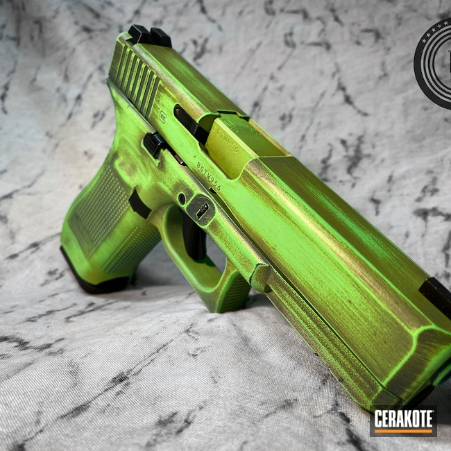 Cerakoted: S.H.O.T,9mm,Zombie Killer,Zombie,Walking Dead,Battleworn,MOJITO H-313,Glock,PARAKEET GREEN H-331,Green,Jesse James Civil Defense Blue H-401