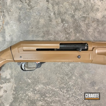 Benelli Super Black Eagle 12 Gauge Shotgun Cerakoted Using Barrett® Brown And Sniper Grey