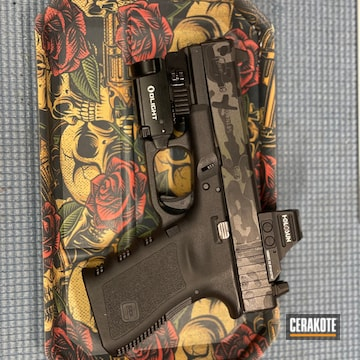 Custom Camo Glock 19 Cerakoted Using Magpul® Stealth Grey, Noveske Bazooka Green And Graphite Black