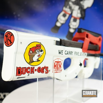 Buck-ee's Themed P90 Cerakoted Using Snow White, Usmc Red And Corvette Yellow