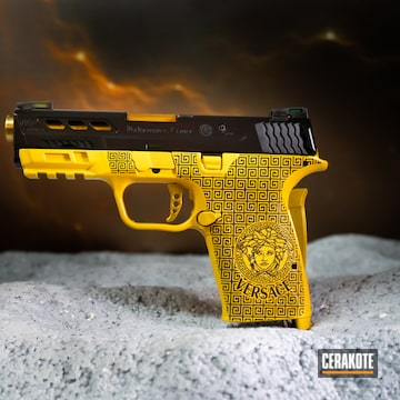 Versace Themed M&p Shield Cerakoted Using Sunflower And Graphite Black