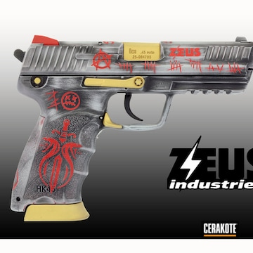 Hell & Back Themed Sig Sauer Pistol Cerakoted Using Crushed Silver, Usmc Red And Armor Black