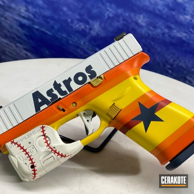 Astros Themed Glock Pistol Cerakoted Using Hunter Orange, Snow White And Corvette Yellow