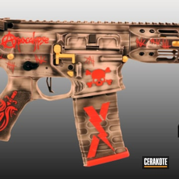 Hell & Back Themed Ar Cerakoted Using Crushed Silver, Usmc Red And Armor Black