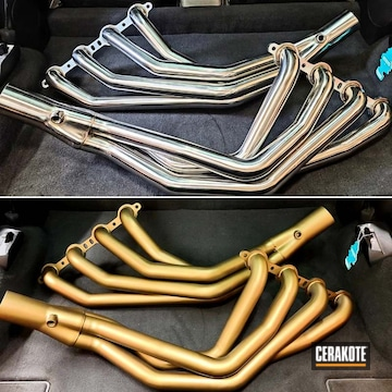 Corvette Headers Cerakoted Using Burnt Bronze