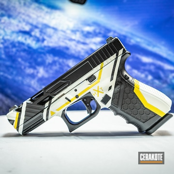 Asiimov Themed Pistol Cerakoted Using Snow White, Corvette Yellow And Graphite Black