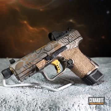 Kryptek Camo Canik Tp9 Pistol Cerakoted Using Titanium, Graphite Black And Burnt Bronze